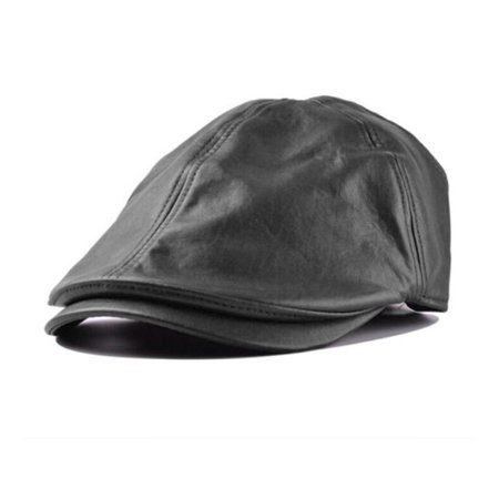 Leather Newsboy Hat (DZT1968 Mens Women Vintage Leather Beret Cap Peaked Hat Newsboy)