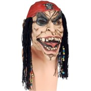 Star Power Scallywag Zombie Pirate With Hair & Beads Mask, One Size