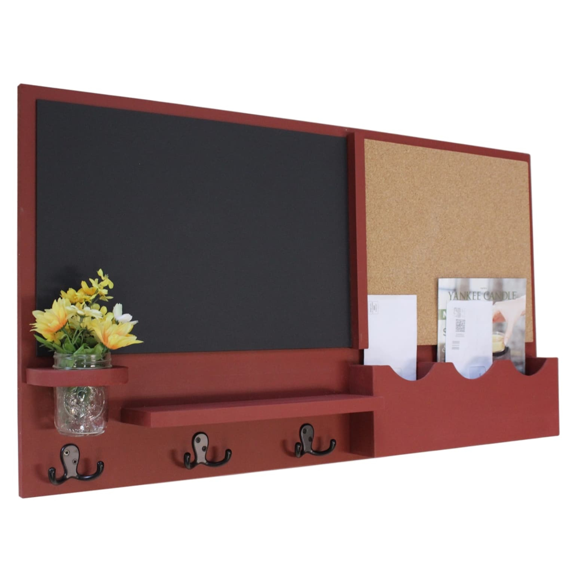 Message Center with Two Mail Slots, Chalkboard, Cork Board, Coat Hooks & Mason Jar