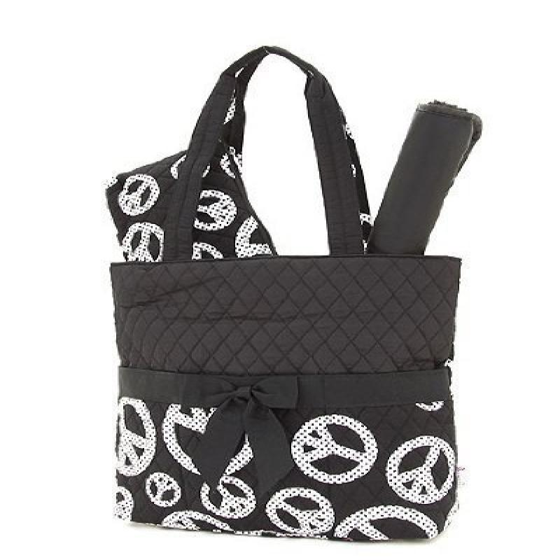 Belvah Quilted Peace Sign Print 3pc Diaper Bag (Black/White)