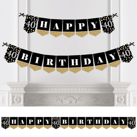 Adult 40th Birthday - Gold - Birthday Party Bunting Banner - Gold Party Decorations - Happy Birthday](40th Birthday Banners)