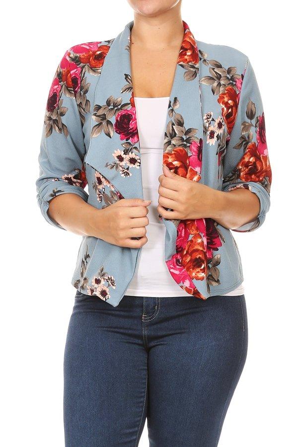 Plus Size Women's Open Front Printed Jacket