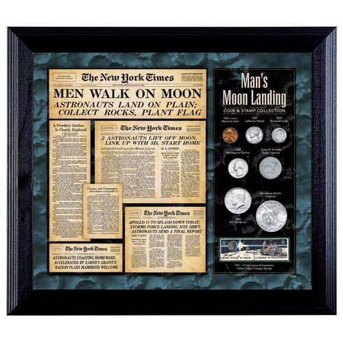 American Coin Treasures New York Times Man Lands on the Moon Framed Memorabilia
