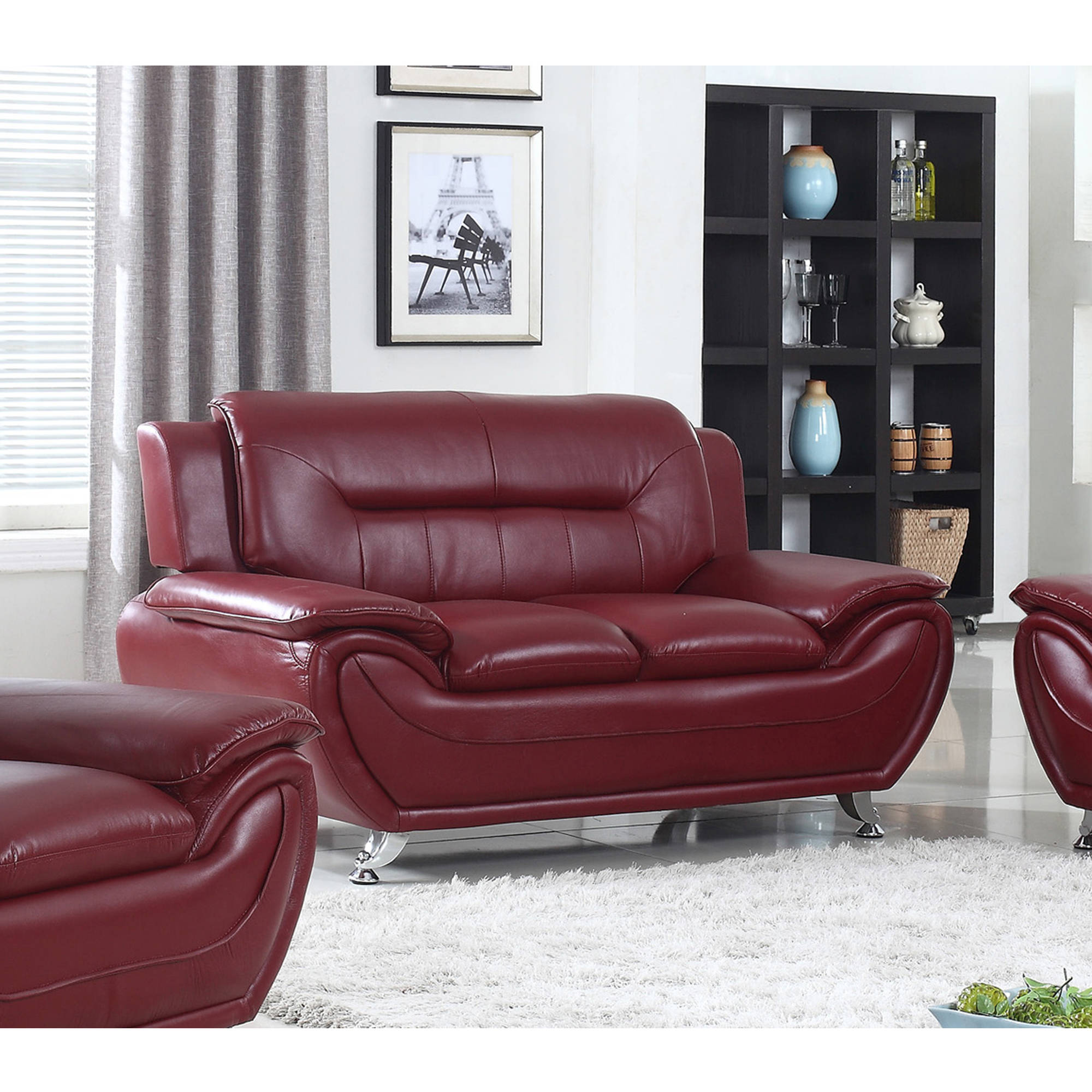 UFE, Norton Faux Leather Modern Loveseat, Burgundy