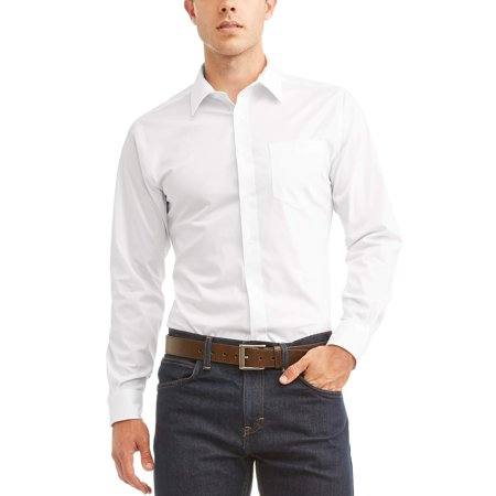 Button Cuff Long Sleeve Dress Shirt (George Long Sleeve Mens Performance Slim Fit Dress)
