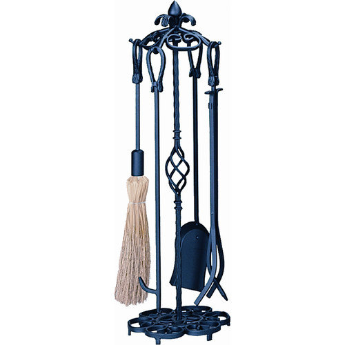 Uniflame Corporation 4 Piece Wrought Iron Horseshoe Fireplace Tool Set With Stand