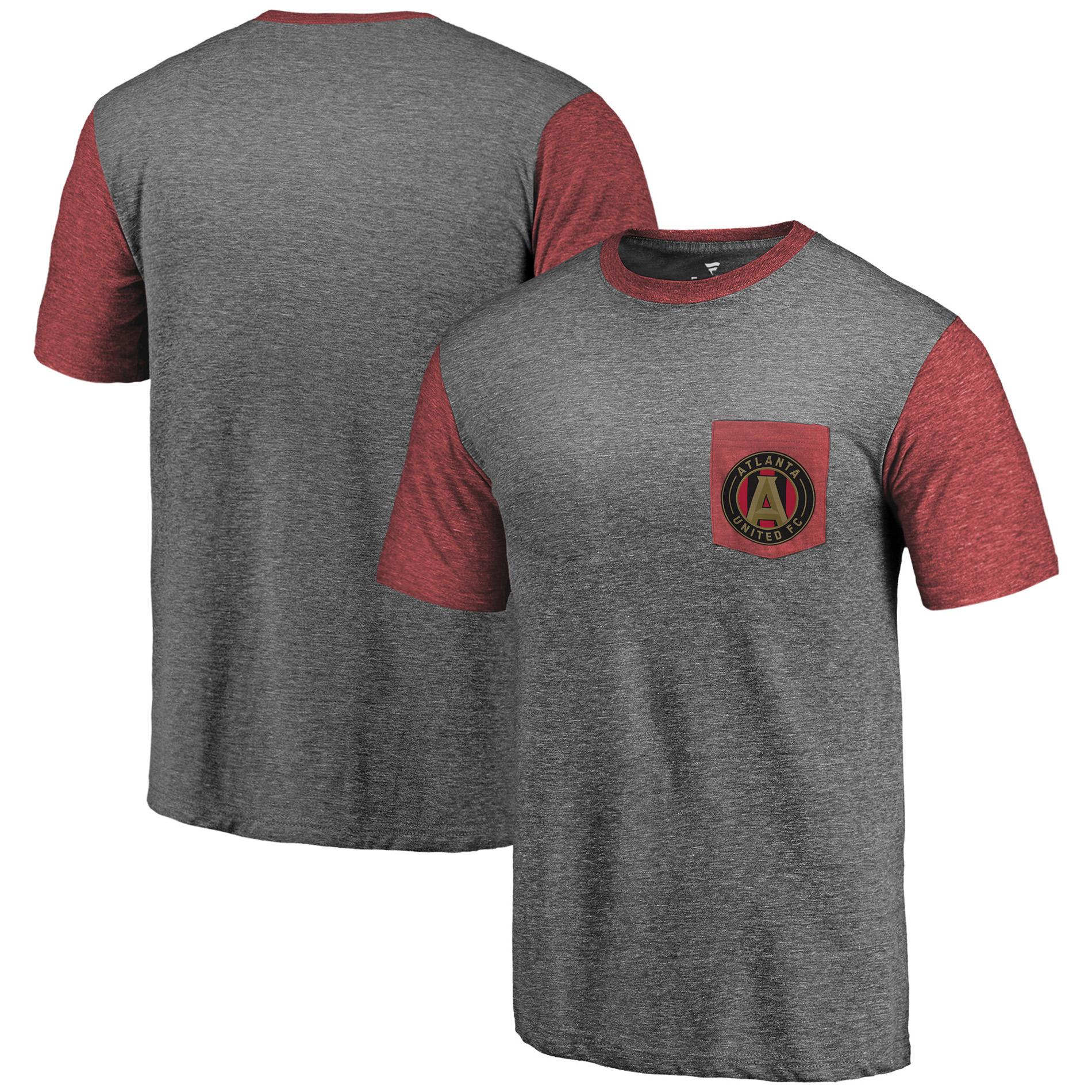 Atlanta United FC Fanatics Branded Tri-Blend Pocket T-Shirt - Heathered Gray/Red