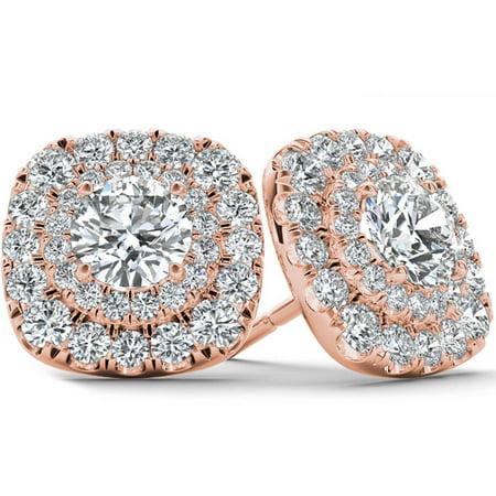 Diamond Rose Gold Stud (3/4 Carat T.W. Diamond 10kt Rose Gold Double-Halo Stud Earrings)
