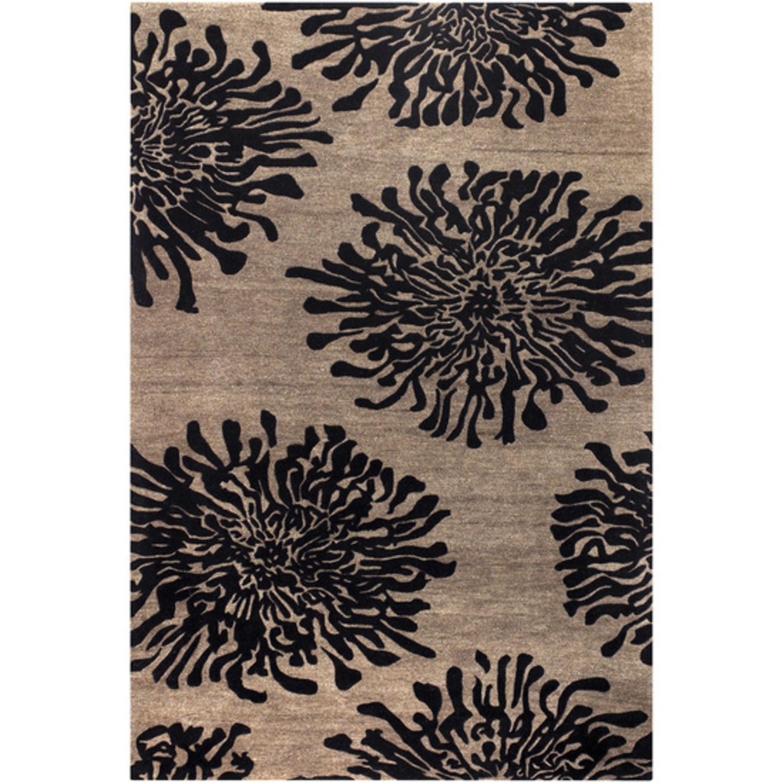 3.25' x 5.25' Bombay Chrysanthemum Espresso and Choco Brown Wool Area Throw Rug