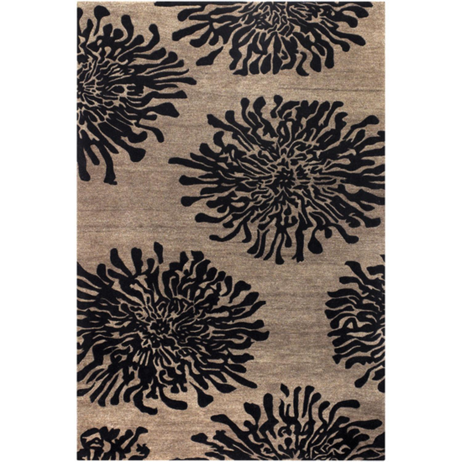 2' x 3' Bombay Espresso and Chocolate Chrysanthemum Flower Medallion Throw Rug