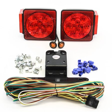 "LED Submersible Square Light Kit Trailer 80""- Boat Marine & 2 Amber Side Marker"