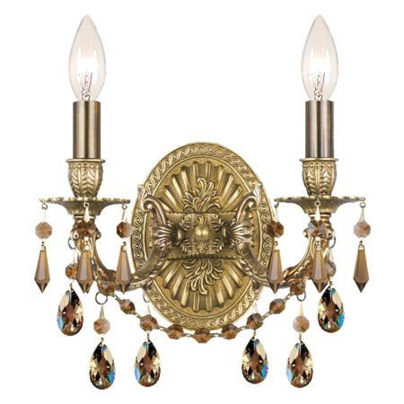 Crystorama Antique Brass Sconce - Crystorama Gramercy 5522 2 Light Wall Sconce