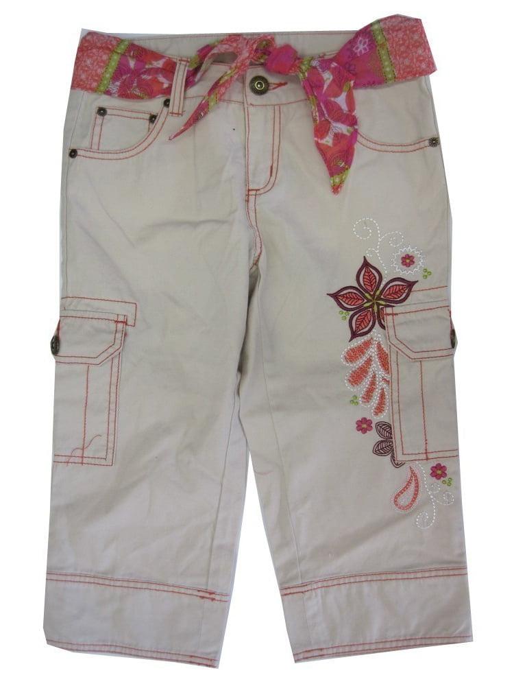 Girls White Bone Floral Embroidered Cargo Capri Pants 12