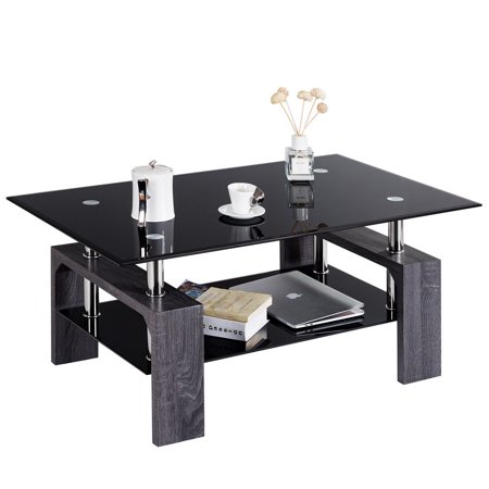 Gymax Rectangular Glass Coffee End Side Table w/ Shelf Living Room Furniture Black ()