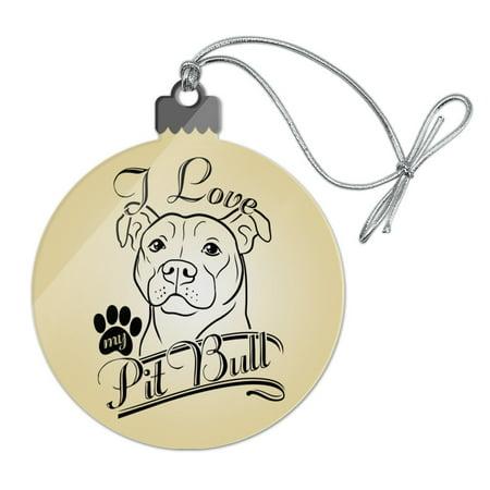I Love My Pit Bull Acrylic Christmas Tree Holiday Ornament (Pit Bull Ornaments)
