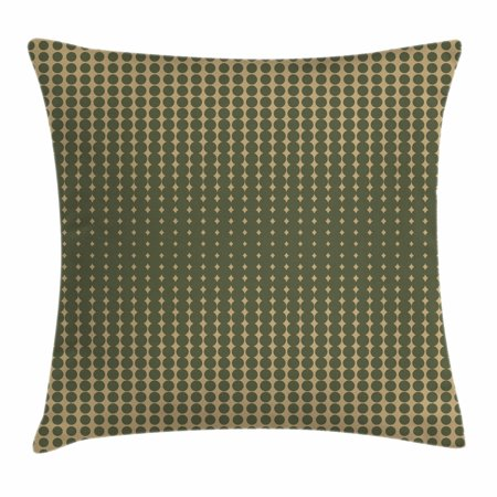 Olive Green Throw Pillow Cushion Cover, Abstract Dotted Halftone Design Vintage Inspirations Geometrical, Decorative Square Accent Pillow Case, 16 X 16 Inches, Olive Green Pale Brown, by Ambesonne ()