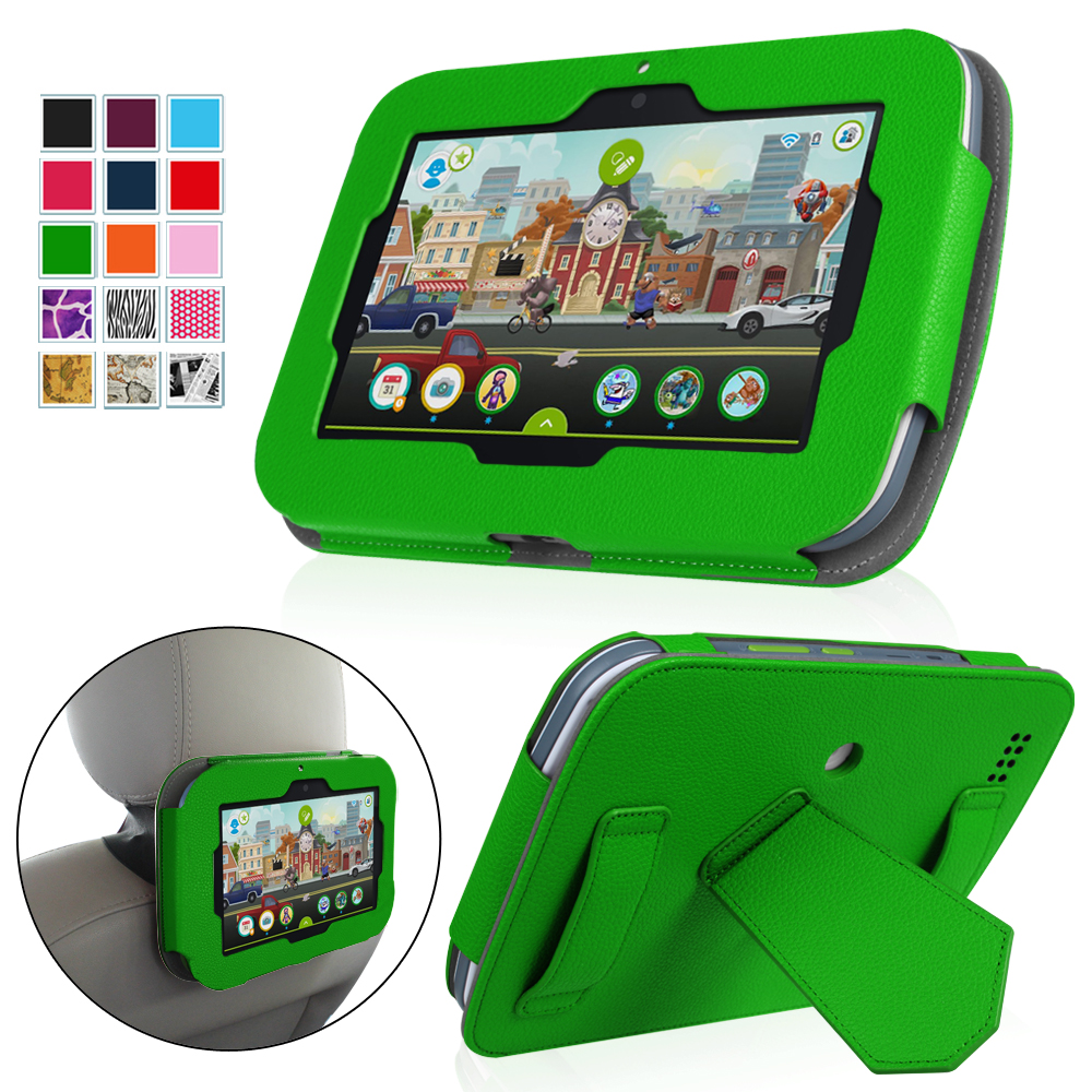 """Fintie LeapFrog Epic 7"""" Android-based Kids Tablet Case Standing Cover with Car Headrest Mount Holder, Green"""