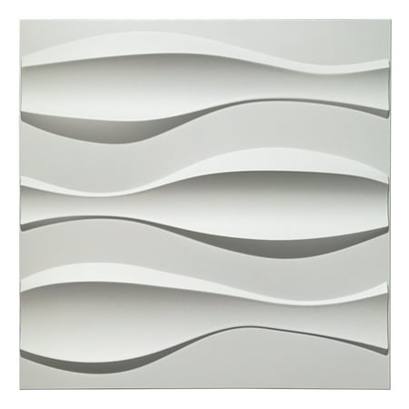 Decorative Tiles 3D Wall Panels for Modern Wall Decor, White, 12 Panels 32 Sq Ft Decorative Wall End Panel