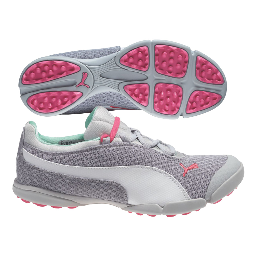 NEW Womens PUMA SunnyLite Mesh Golf Shoes Grey/White/Rose - Choose Size!