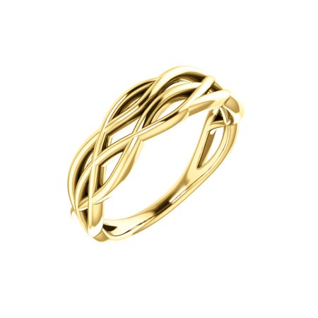 14K Yellow Gold Freeform Fashion Cocktail Ring Size 7