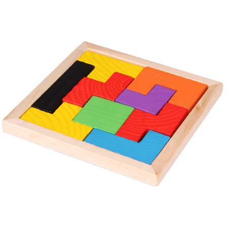 Wooden Colorful Geometric Building Blocks Brain Teaser Jigsaw Puzzle Tetris Toys as Gifts for Kids Color:Photo Color