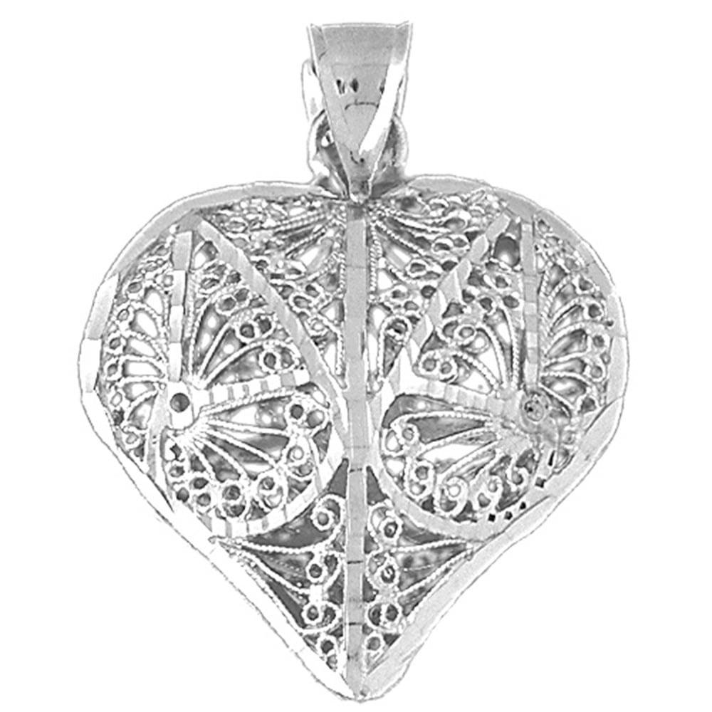 Jewels Obsession Heart Charm Pendant 18 mm 14K White Gold Heart Pendant