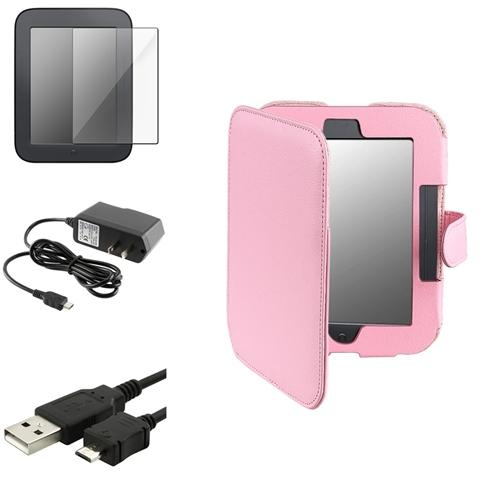 Insten Pink Leather Case+Film+Data Cable+Wall Charger For Nook 2 Simple Touch/GlowLight