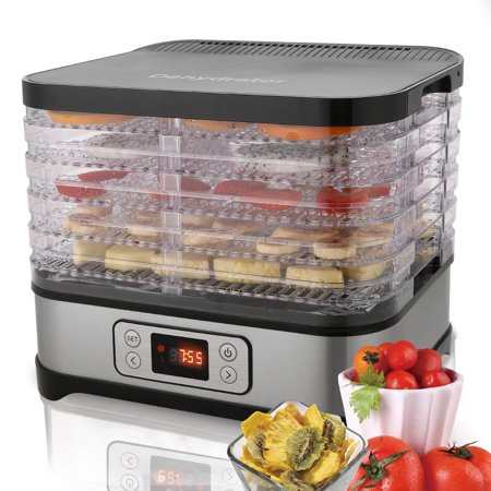 Professional Food Dehydrator Machine, Jerky Dehydrator with Timer, Five Tray And LCD Display Screen,Electric Multi-Tier Food Preserver for Meat Or Fruit Vegetable