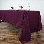 BalsaCircle 6 pcs 60x126-Inch Eggplant Purple Rectangle Polyester Tablecloths Table Cover Linens for Wedding Events Kitchen Dining