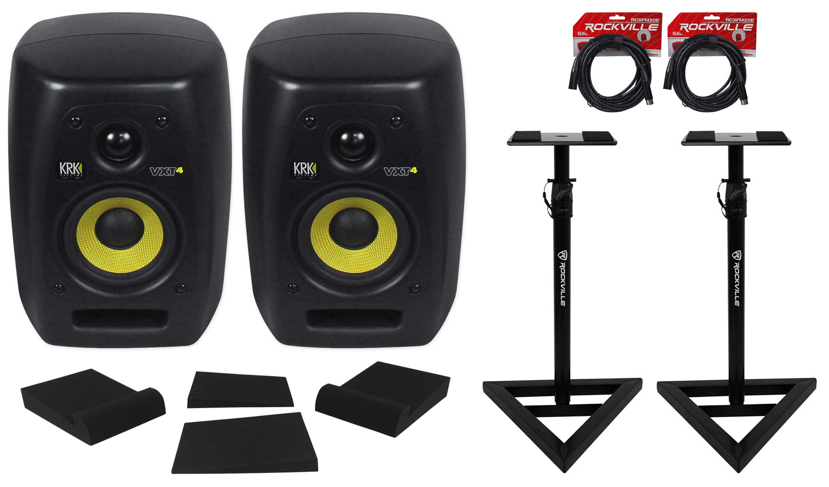 """(2) KRK VXT-4 4"""" Powered Studio Monitors+Stands+Mopad Isolation Pads+Cables by KRK"""
