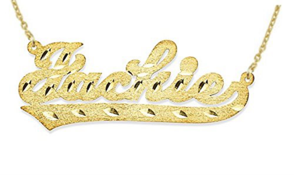 Personalized Satin Finish Diamond Cut Nameplate Necklace Script Sterling Silver or Yellow Gold Plated Silver by Elie Int.