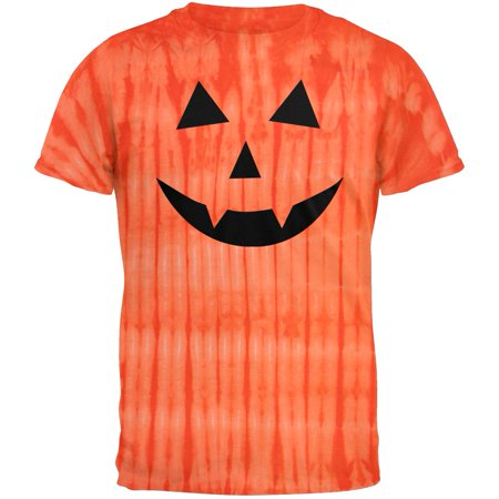 Halloween Jack-O-Lantern Fangs Face Tie Dye T-Shirt for $<!---->