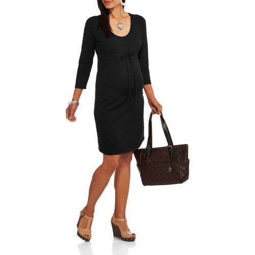 Oh! Mamma Maternity 3/4 Sleeve Knit Dress with Drawstring Waist