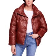 Free People Womens Leather Puffer Jacket, brown, Large