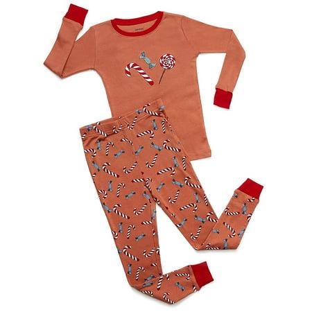 Leveret Organic Cotton Candy Cane 2 Piece Pajama Set 18-24 Months