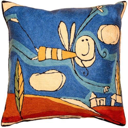 Cashmere Crafts  Handmade Chain-stitch Throw Pillow (India)