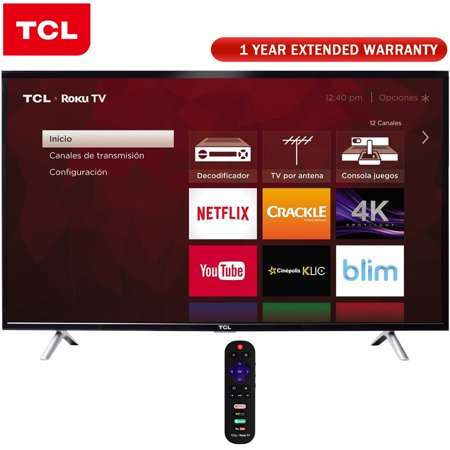 TCL 49-Inch Class S-Series 4K Ultra HD Roku Smart LED TV 2017 Model (49S405) + 1 Year Extended Warranty for $<!---->