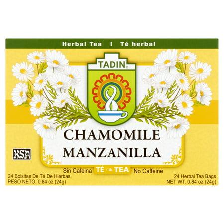 (4 Boxes) Tadin Herb & Tea Co. Chamomile Herbal Tea, Caffeine Free, 24 Tea Bags