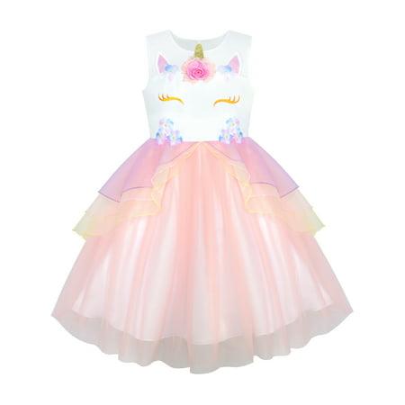 Girls Dress Blush Pink Unicorn Costume Cosplay Princess Pageant