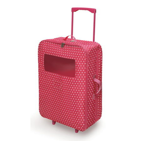 Badger Basket Double Trolley Doll Carrier with Two Sleeping Bags and Pillows - Pink/Star - Fits American Girl, My Life As & Most 18