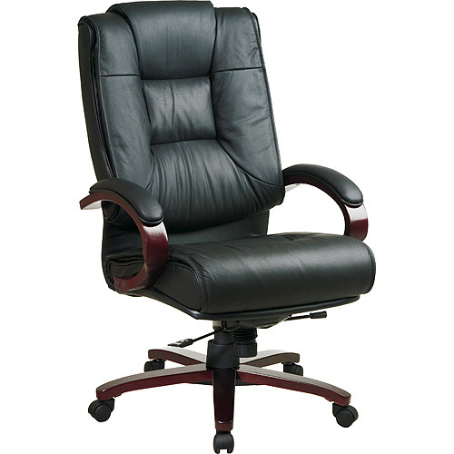 Office Star Products Leather Deluxe Executive High Back Leather Chair With  Mahogany Finish, Black