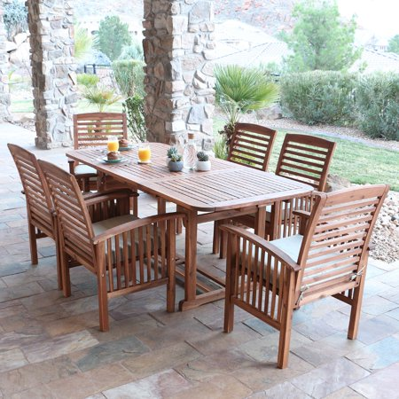 Walker Edison Acacia Patio Dining Set With Cushions   Seats 6