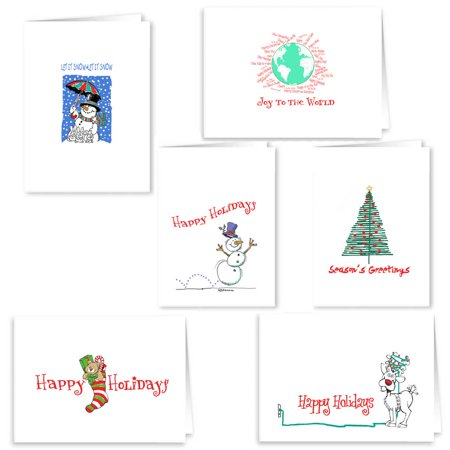 Christmas Card Collection - 18 Holiday Cards & Envelopes - Cute Boxed Christmas Cards