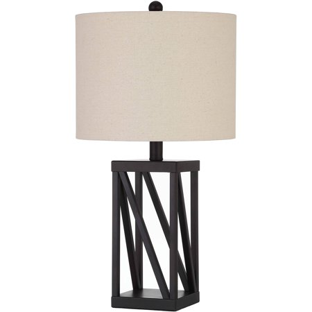 Better Homes and Gardens Bronze Cage Lamp Square Cage Table Lamp, Easy On/Off Switch, 22