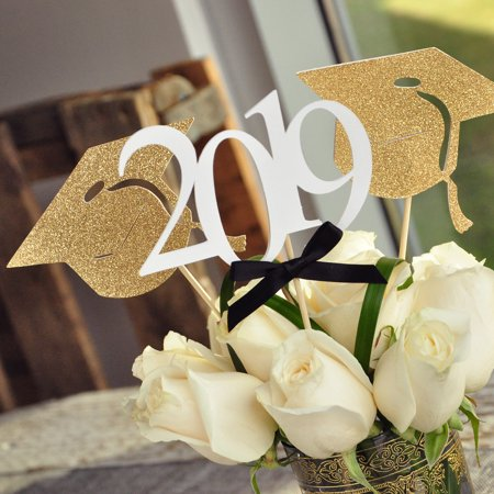 Graduation Party Cap - Graduation Party Decoration. (2 Single Graduation Cap Wands & 1 Single 2019 Wand) Black and Gold Centerpiece for Graduation Party.