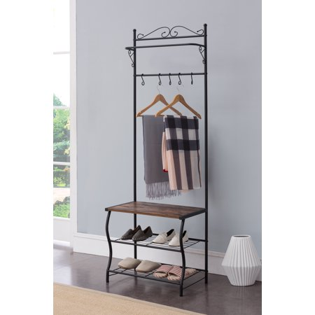 Tes Black Metal Industrial Style Entryway Coat & Hat Hall Tree Rack Stand With 5 Hooks, Bench & Storage - Hall Stand