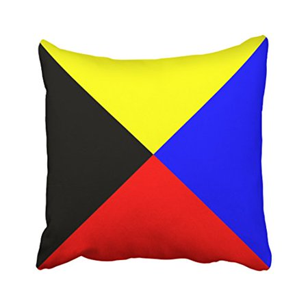 WinHome Square Throw Pillow Covers Vintage International Maritime Signal Flag Letter Nautical Pillowcases Polyester 18 X 18 Inch With Hidden Zipper Home Sofa Cushion Decorative - Nautical Supply International