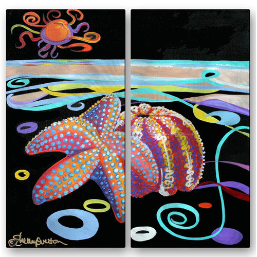 All My Walls 'Starfish Urchin' by Shelley Overton 2 Piece Graphic Art Plaque Set