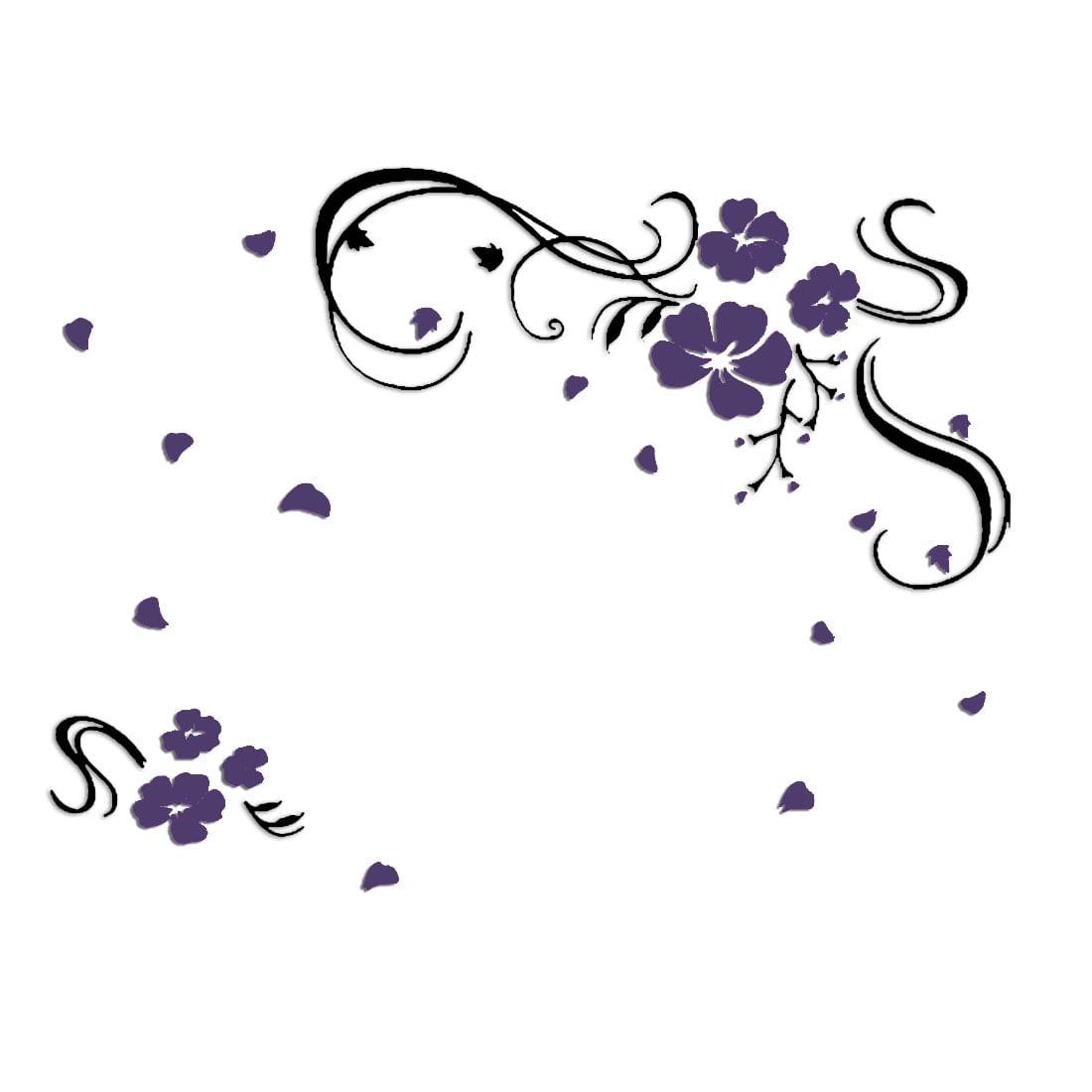 Household Acrylic Flower Print 3D Self Adhesive Wall Sticker Mural Dark Purple - image 5 of 5