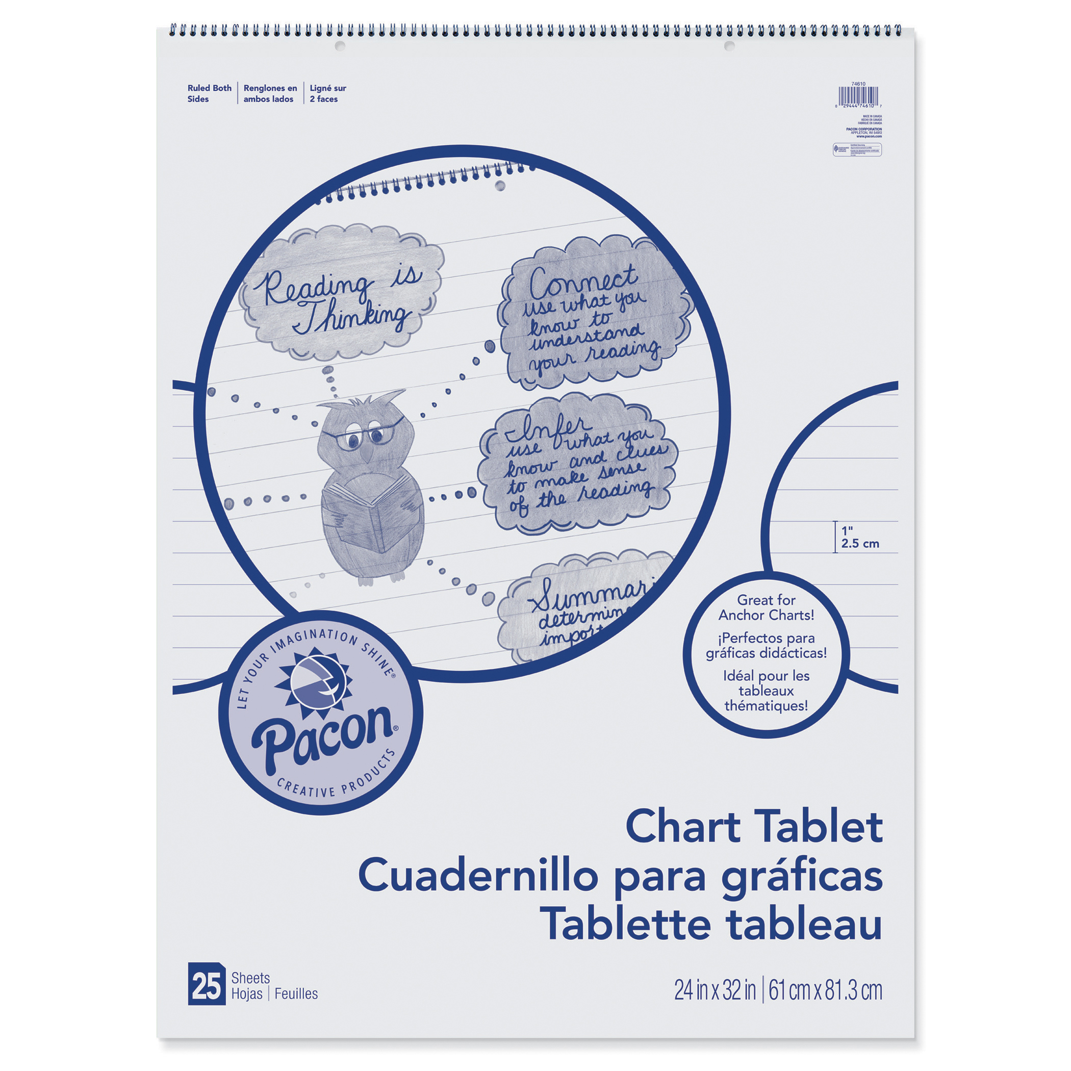 "Pacon® Chart Tablet, 1"" Ruled, 24"" x 32"", White, 25 Sheets"